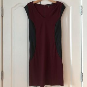 Tart Wine Black Vegan Leather Trim Shift Dress M